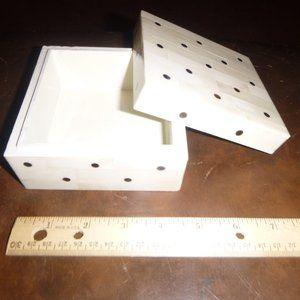 Wooden Ivory Tiled Trinket/Jewlery Box 4.5x4.5x2.5